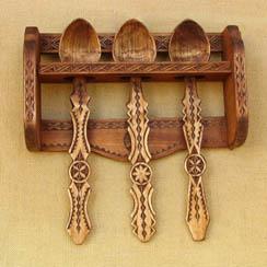 obiecte casnice din lemn - set linguri de lemn