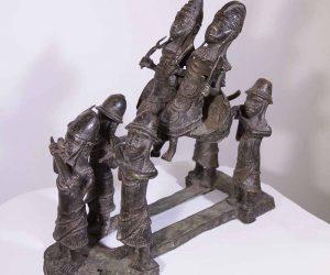 Cuplu roial african din bronz figurine din benin