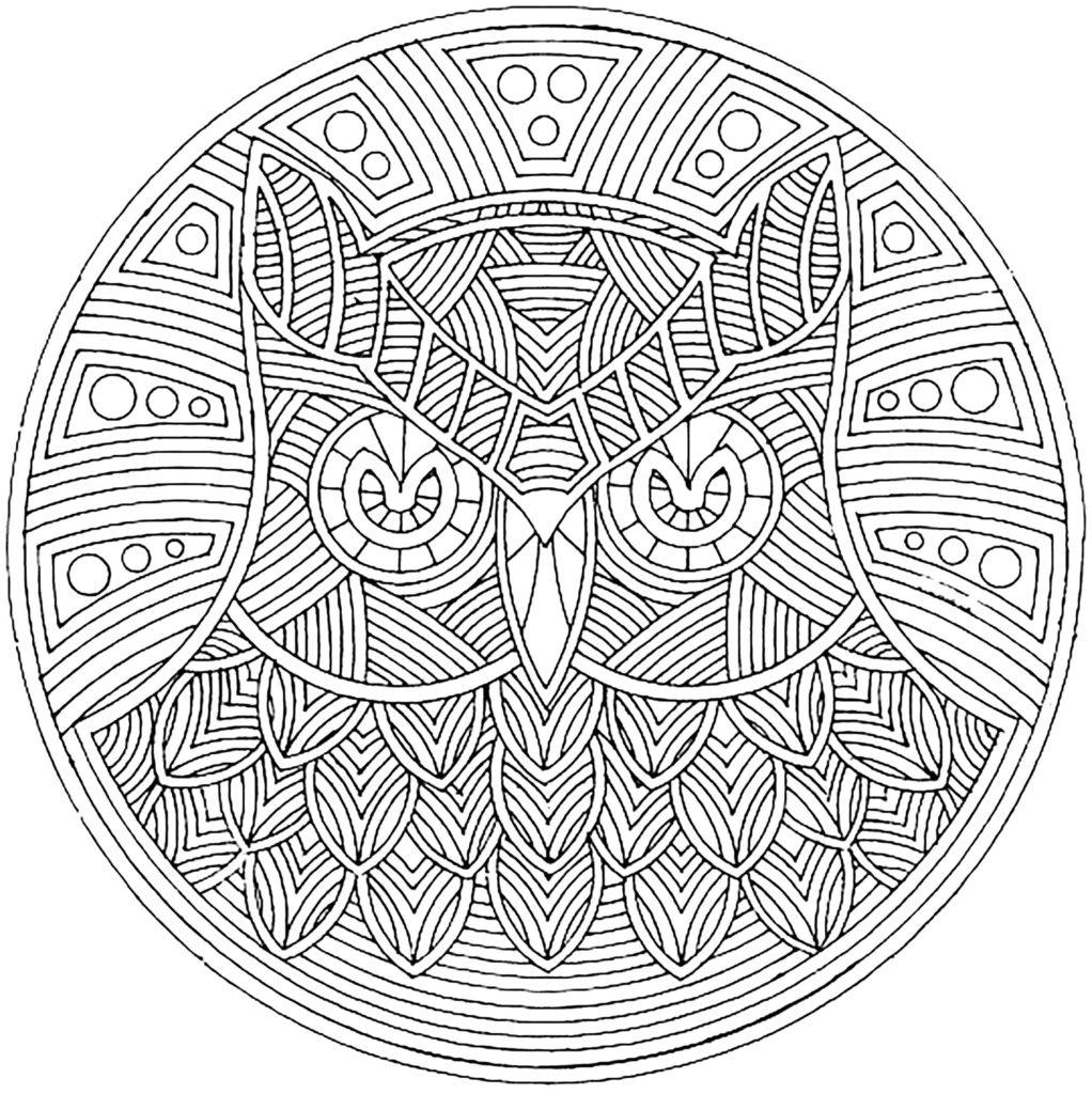 Mandala de colorat cu bufnita