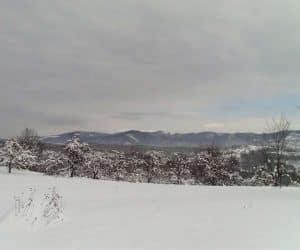 Fotografii de iarna - De la noi din sat se vede bine Dealu Mare