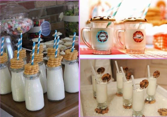 lapte si cookies pentru petreceri copii