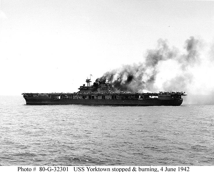 Batalia de la Midway reprezentată de epava portavionului Yorktown 1