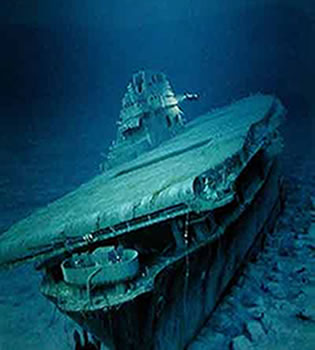 Robert Ballard a gasit la 19 mai 1998 portavionul Yorktown scufundat in batalia de la Midway