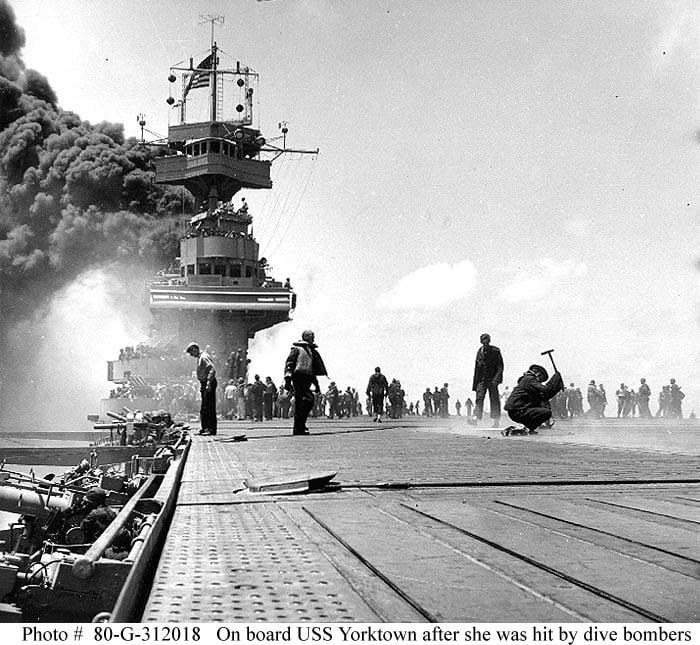 Batalia de la Midway reprezentată de epava portavionului Yorktown 2