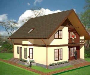 model casa pe structura de lemn cu doua etaje