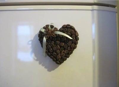Inima din cafea cu magnet pentru frigider