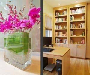dormitorul cu birou si ikebana
