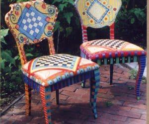 scaune pictate
