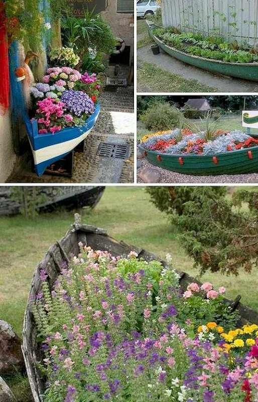 DIY amenajari de gradina jardiniere din barci