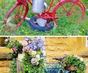 DIY bicileta veche pe post de obiect decorativ in gradina