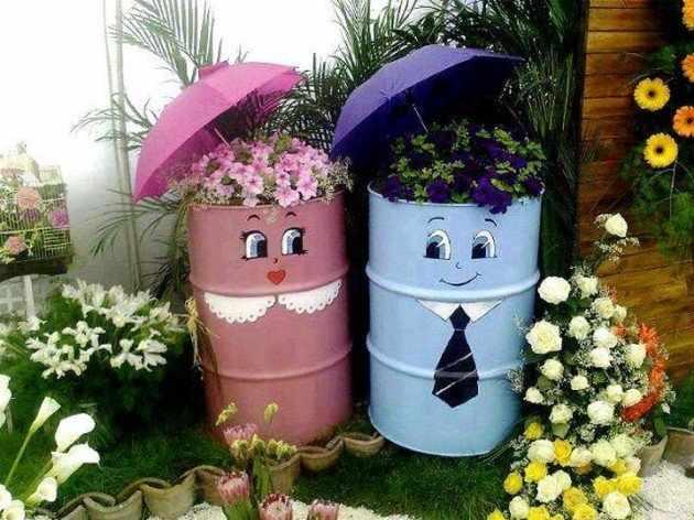DIY butoaie pictate ghivece pentru flori