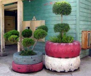 DIY cauciuc - jardiniera pentru flori si copaci