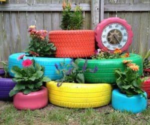 DIY jardiniere de flori in cauciuc