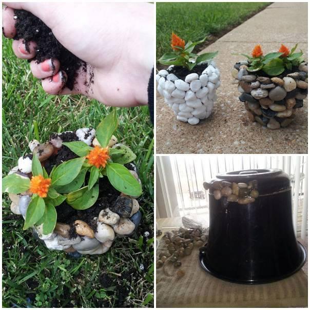 DIY ghivece din pietre lipite