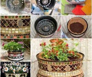 DIY ghiveci de flori din janta auto