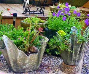 Givece din ciment facute acasa pentru flori