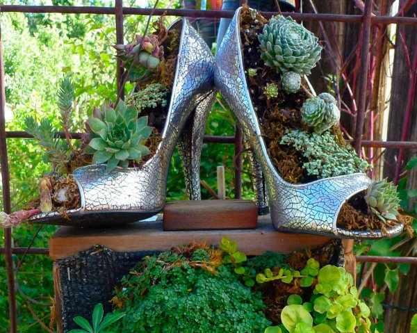 DIY papuci vechi pe post de ghiveci