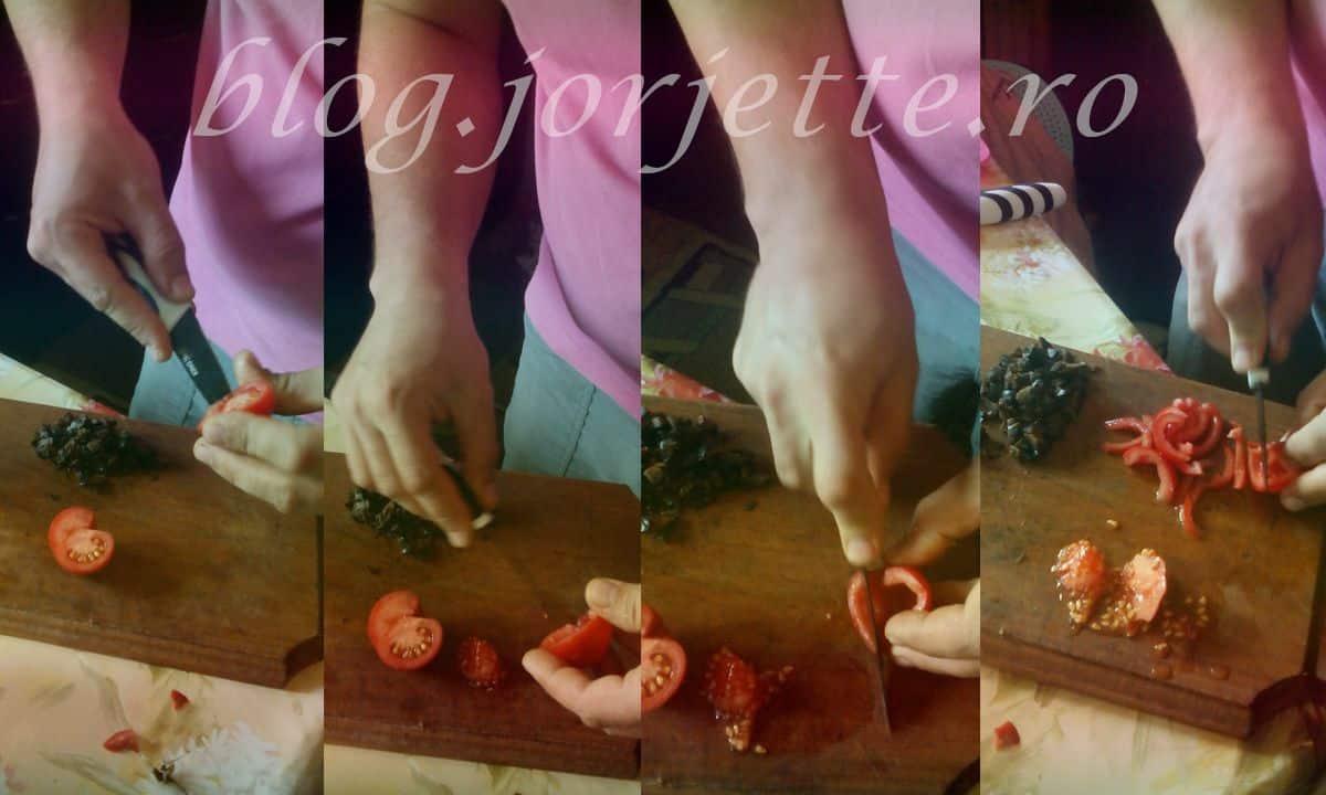 rosii taiate pentru ornarea brioselor aperitiv cu masline si marar
