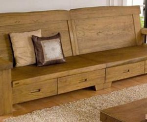 Canapea cu sertare din lemn masiv de ulm