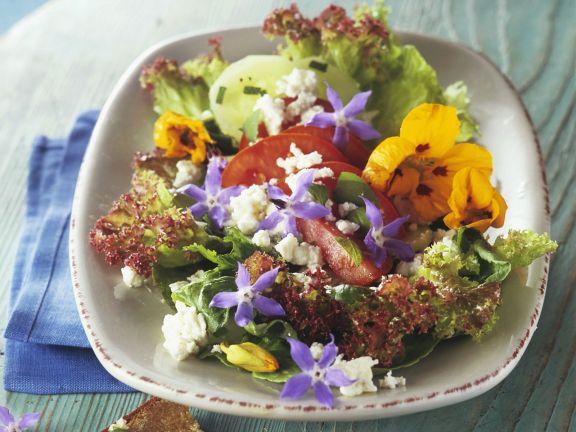 Salata cu flori de limba mielului condurasi branza feta
