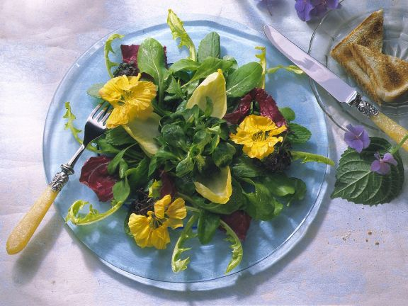 Salata de primavara cu frunze si flori de condurul doamnei
