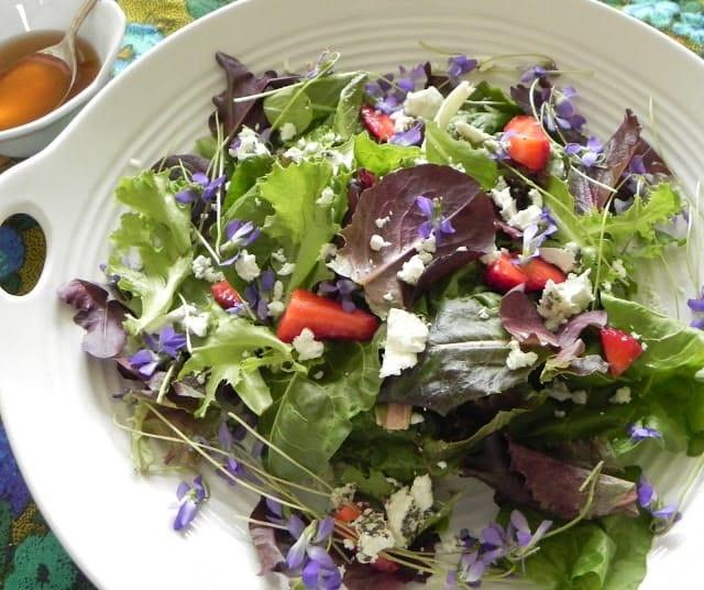 Salata verde cu toporasi capsuni si branza