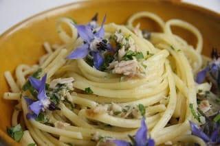 Spaghete cu ton ierburi si flori de limba mielului
